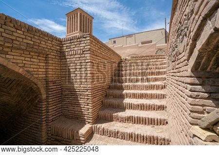 View From Under An Old Wind Catcher, Or Cooling Tower, In Ancient City Of Naein, Iran, Persia, On A