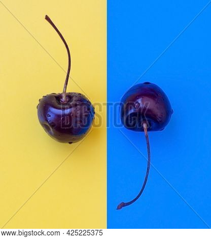 Two Cherries On A Yellow-blue Background. Close-up. Two Yinyan Berries.