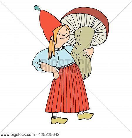 Funny Female Gnome Holding Giant Mushroom. Fairy Tale Elf Girl In Cartoon Style. Vector Illustration