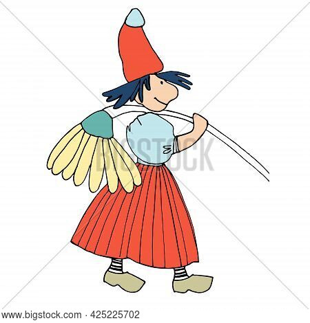 Funny Female Gnome With Giant Chamomile Flower. Fairy Tale Elf Girl In Cartoon Style. Vector Illustr