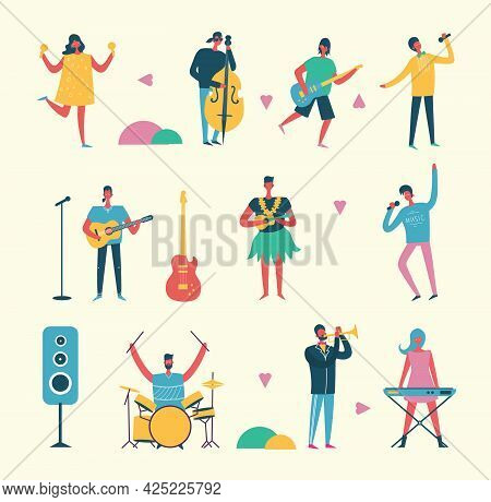 Musician Persons In Different Music Duets. Vector Characters Of Singers