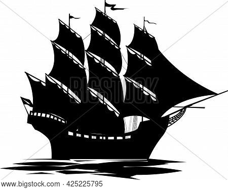 Vector Illustration Depicting An Old Ship Under Sail As A Symbol Of Travel And Adventure For Prints