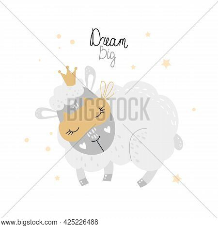Sleeping Cute Lamb. Big Dreams. Childrens. Vector Illustration. Isolated On A White Background. Flat