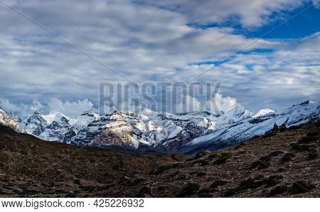 Himalayas snowcapped summit mountains in snow. Near Dhankar, Spiti Valley, Himachal Pradesh, India