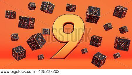 Gold Nine 9 Percent Number With Black Cubes  Percentages Fly On A Orange Background. 3d Render