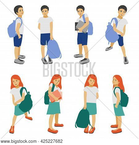 Back To School, Children With Schoolbags, Schollboy Kids Isolated, Pupils Boys And Girs In Different