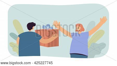 Boy Giving Huge Gift To Girl. Flat Vector Illustration. Boy Congratulating Girl On Her Birthday Or H