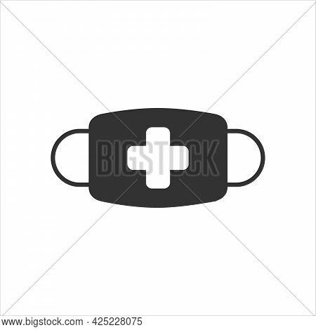 Breathing Medical Respiratory Mask Vector Icon. Pandemic Virus Protection Face Masking.