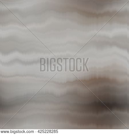 Seamless Striped Brown Gradient Pattern Swatch. Soft Blurry Dyed Wave Ink Bleed Effect. Abstract Mas