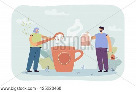 Man And Woman Brewing Huge Cup Of Tea. Flat Vector Illustration. Huge Cup Of Boiling Water, Girl Put