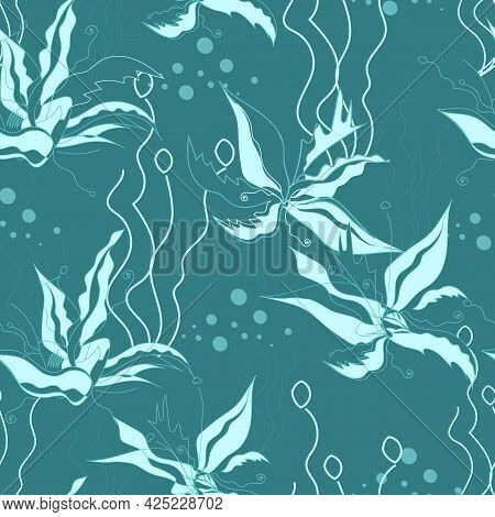 Underwater Seamless Background With Sea Plants Algae. Blue Seamless Vector Pattern.