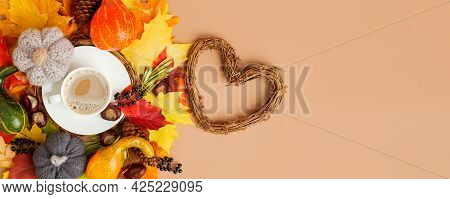 Autumn Flat Lay Composition With Dry Leaves, Coffee Latte Cup On Neutral Beige Background. Creative