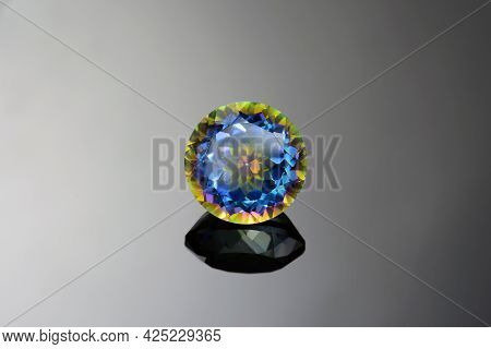 Loose Round Faceted Mystic Quartz Transparent Gemstone Setting For Making Jewelry. Initially Colorle