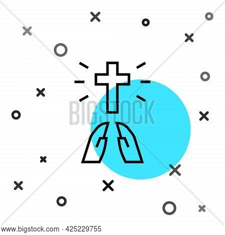 Black Line Hands In Praying Position Icon Isolated On White Background. Prayer To God With Faith And