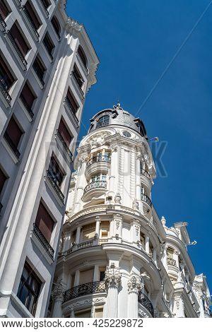 Historic Residential Buildings In Gran Via Avenue In Madrid