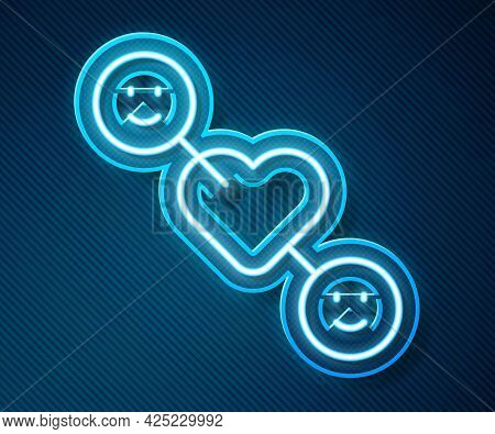 Glowing Neon Line Romantic Relationship Icon Isolated On Blue Background. Romantic Relationship Or P