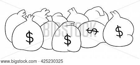 Cartoon Vector Illustration Of Sacks Full Of Money. Black Outlined And White Colored.