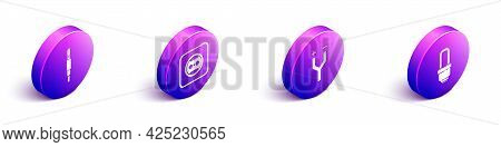 Set Isometric Audio Jack, Electrical Outlet, Electric Cable And Led Light Bulb Icon. Vector