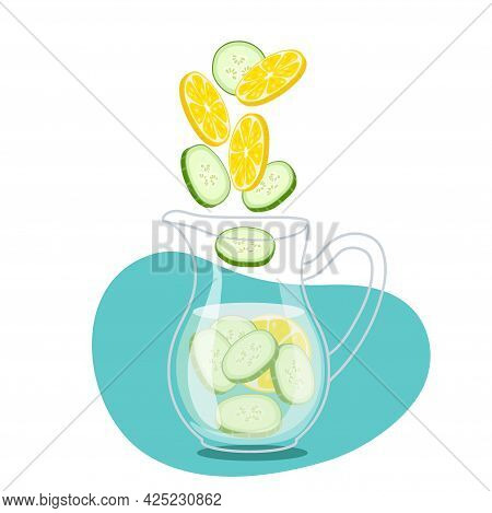 Pieces Of Lemon And Cucumber Fall Into Water Jug. Cool Fresh Lemonade In Glass Pitcher. Summer Drink