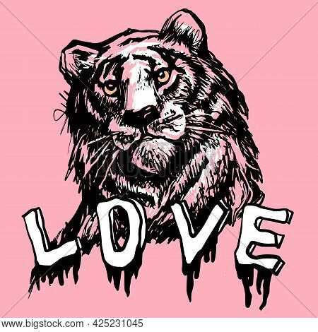 Love Tiger, Lion Face, Portrait. Drawn Black Line Art. Exotic, Predator Face Background, Print, Tatt