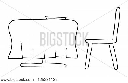 Cartoon Vector Illustration Of Dining Table And Chair. Black Outlined And White Colored.