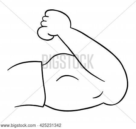 Cartoon Vector Illustration Of Strong, Muscular Arm, Biceps. Black Outlined And White Colored.