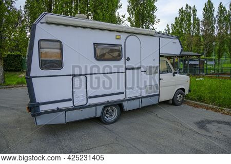 June 2021 Parma, Italy: White Laika Camper Trailer Parked Close-up. Camper Traveling Concept