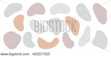 Abstract Organic Shapes Set. Vector Hand Drawn Elements, Pastel Colors, Isolated On White. Modern Il