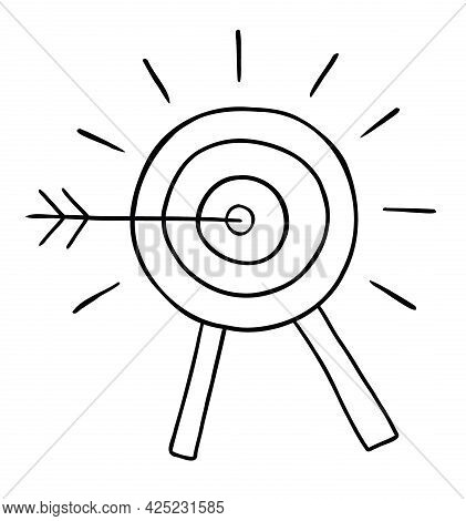 Cartoon Vector Illustration Of Bulls Eye And Dart Hit The Target. Black Outlined And White Colored.