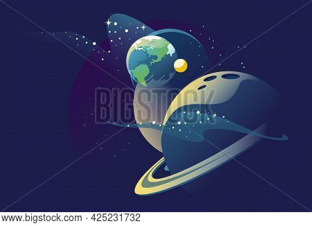 Planets In Outer Space With Satellites. Galaxy, Cosmos, Universe Futuristic Fantasy View Background.