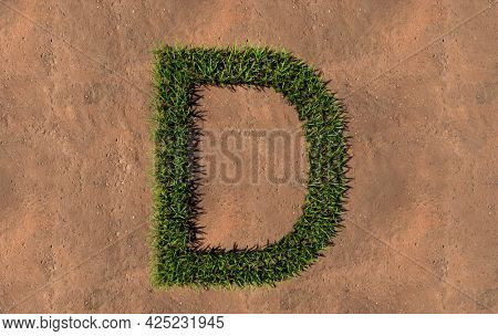 Concept conceptual green summer lawn grass symbol shape on brown soil or earth background, font of D. 3d illustration metaphor for nature, conservation, organic, growth, environment, ecology, spring