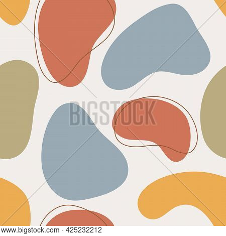 Organic Shapes Seamless Pattern. Hand Drawn Vector Illustration With Abstract Forms And Lines, Multi