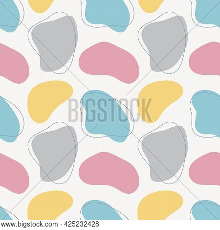 Organic Shapes Seamless Pattern. Abstract Hand Drawn Vector Illustration With Forms And Lines, Paste