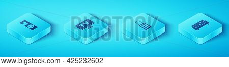 Set Isometric Please Do Not Disturb, Smart Tv, Sofa And Suitcase Icon. Vector