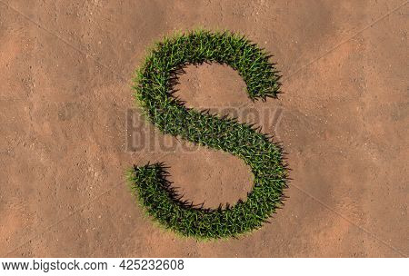 Concept conceptual green summer lawn grass symbol shape on brown soil or earth background, font of S. 3d illustration metaphor for nature, conservation, organic, growth, environment, ecology, spring