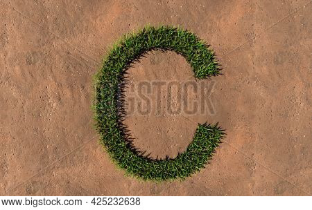 Concept conceptual green summer lawn grass symbol shape on brown soil or earth background, font of C. 3d illustration metaphor for nature, conservation, organic, growth, environment, ecology, spring
