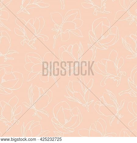 Seamless Pattern With Magnolia Flowers. Modern Minimalistic Style, White Line Blooming Buds On Branc