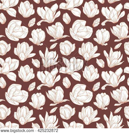 Seamless Pattern With Magnolia Flowers. Blooming Buds In Sketch Style On Brown Background. Imitation