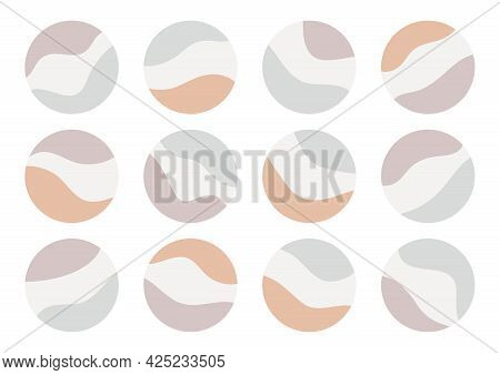 Highlight Icons Set For Social Media Stories. Round Covers With Abstract Elements, Pastel Colors. Ve