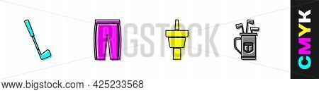 Set Golf Club, Pants, Tee And Bag With Clubs Icon. Vector