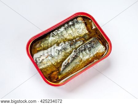 Tin Of Sardines In Oil Isolated On White Background