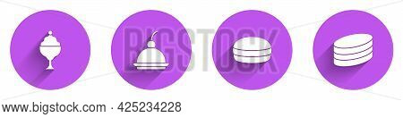 Set Ice Cream In Bowl, Cherry Cheesecake, Macaron Cookie And Brownie Chocolate Icon With Long Shadow