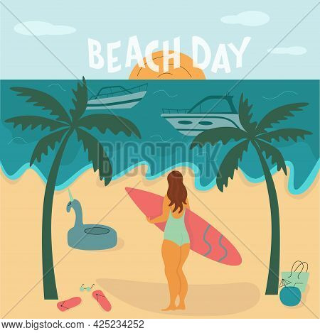 Young Body Positive Woman With Surfboard On Beach. Summer Vacation Seaside Concept. Lettering Text B