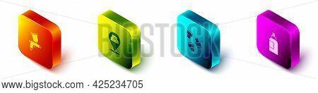 Set Isometric Paint Spray Gun, Can, Marker Pen Attachment And Paint, Gouache, Jar, Dye Icon. Vector