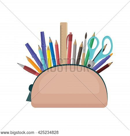 A Large School Pencil Case With Various School Supplies, Such As A Ruler, A Pen, Colored Pencils, A