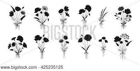 Wildflower Bouquets Set, Hand Drawn Floral Silhouettes. Poppy, Chamomile, Cosmea, Lavender, And Othe
