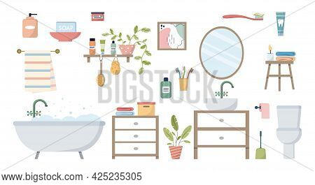 Bathroom Elements. Set Objects Furniture And Interior For Bathrooms. Sink With Mirror And Toilet Bow