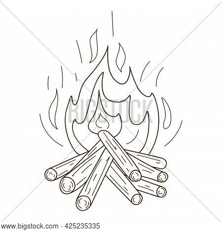 A Wood-burning Bonfire. Camping, Picnic, Burning Flame. Decorative Element With An Outline. Doodle,