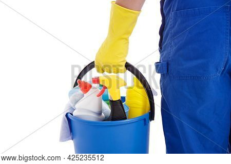 Professional Cleaning Service Concept - Bucket With Cleaning Equipment In Male Hand Isolated On Whit