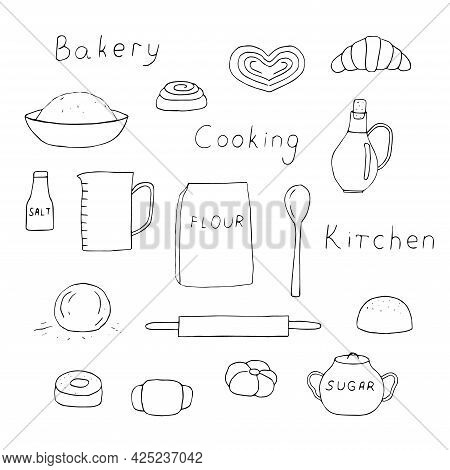 Kitchen And Baking Set Products And Accessories For Baking Vector Illustration Hand Drawing
